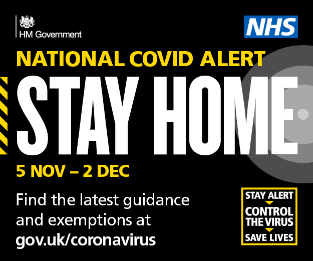 COVID-19 web banner with text National Covid alert, stay home, 5 November to 2 December