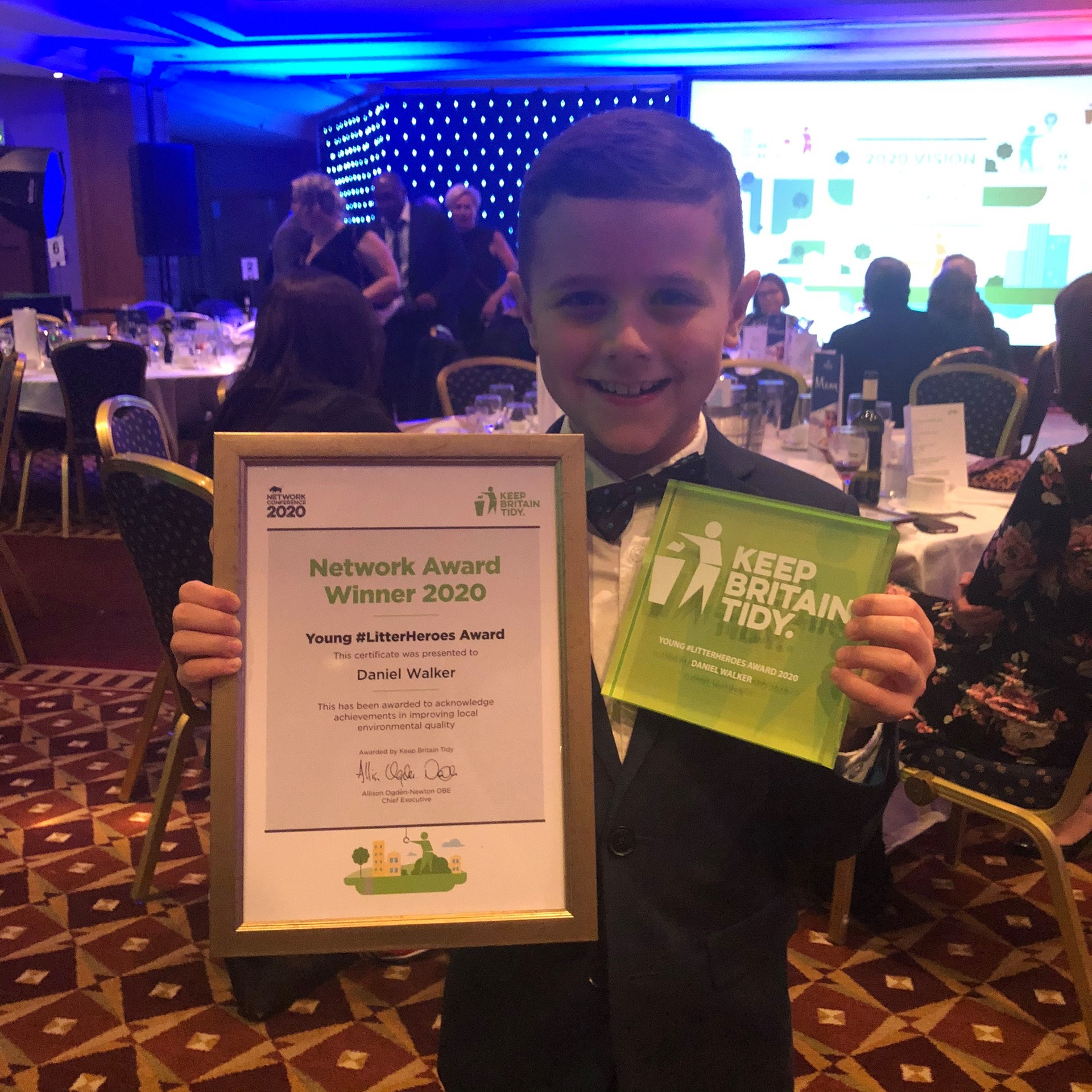 Daniel Walker presented with his Young #LitterHeroes Keep Britain Tidy award 2020.