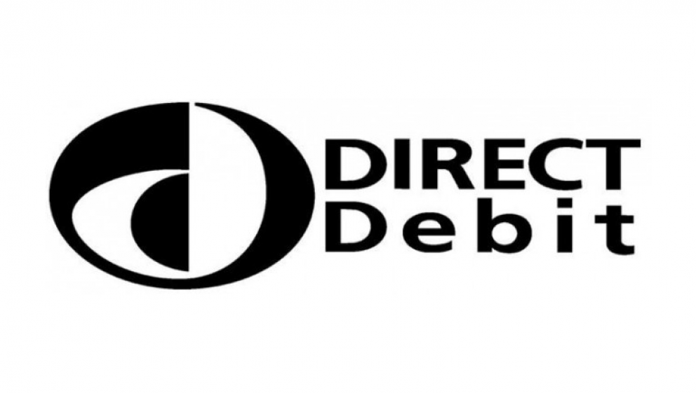 Black and white direct debit logo with text that says direct debit