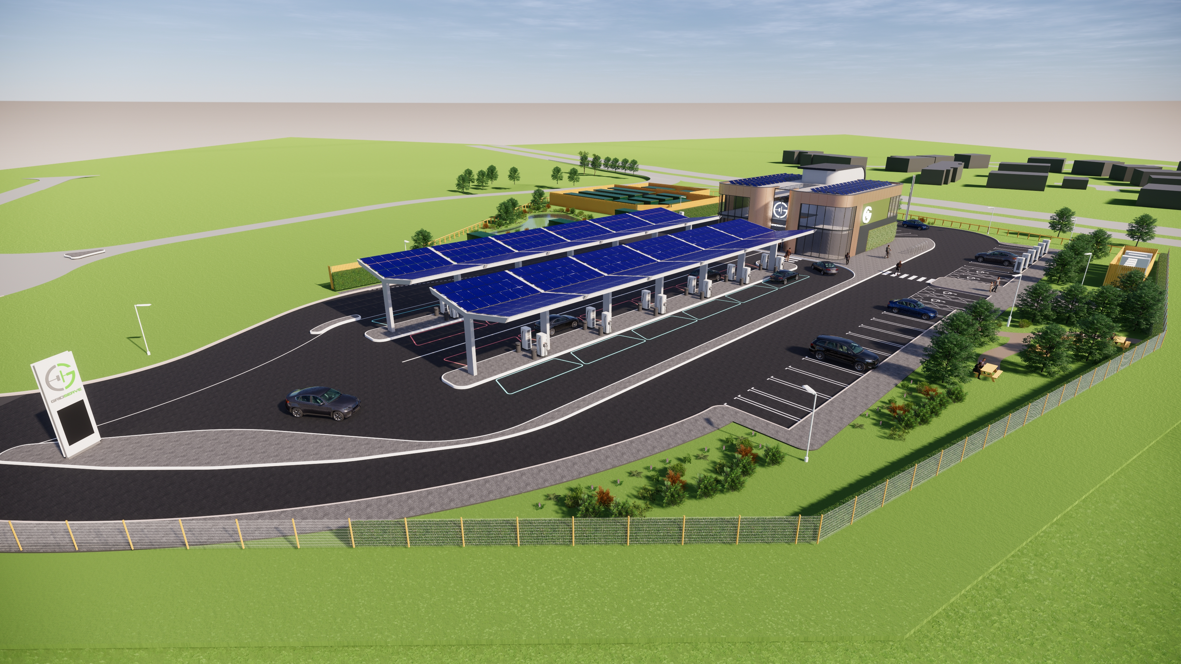Artist impression of the Gridserve development at Great Notley, Braintree.