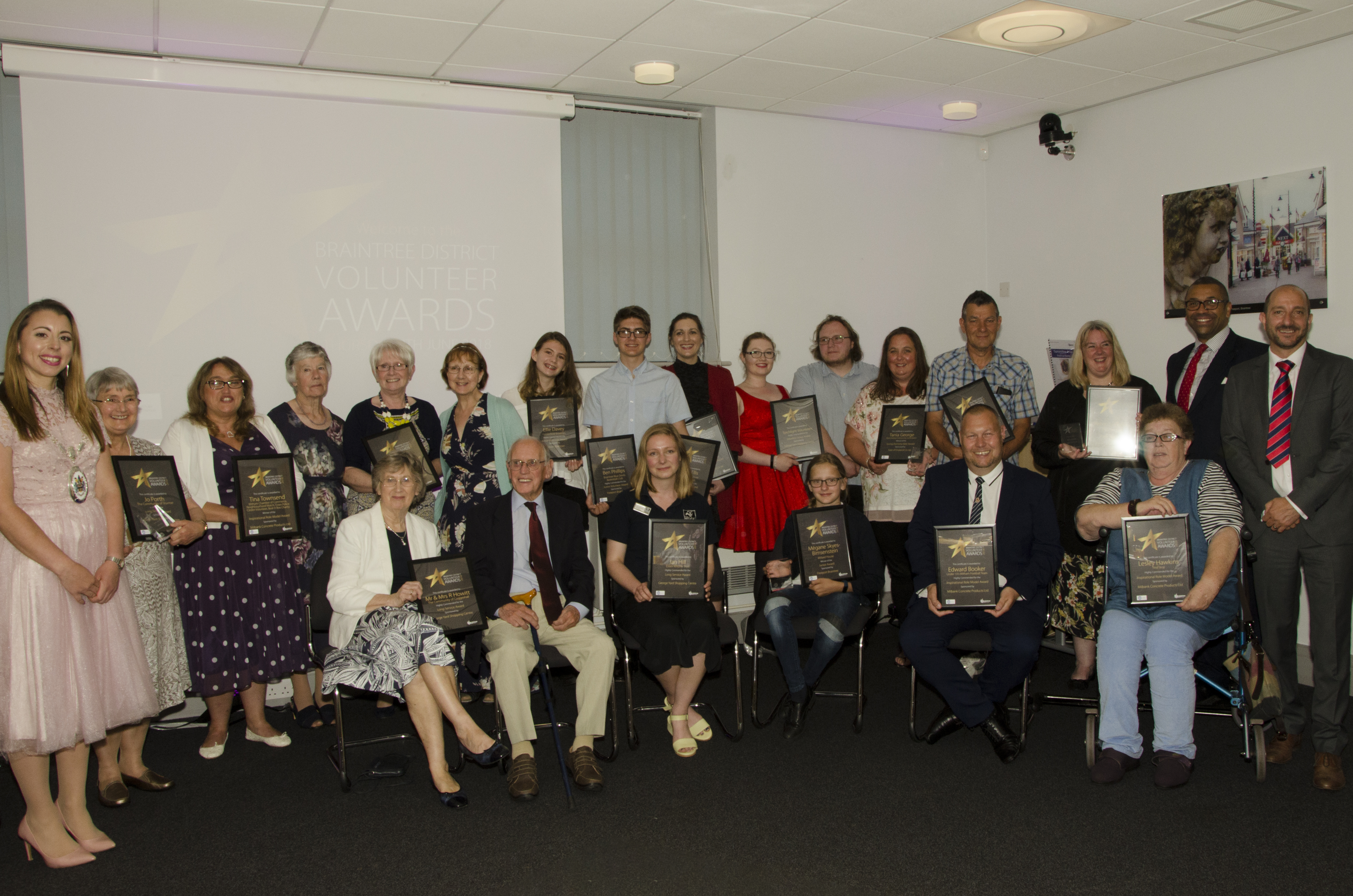Volunteer Awards - Group photo of winners and highly commended with Councillors and Braintree MP.
