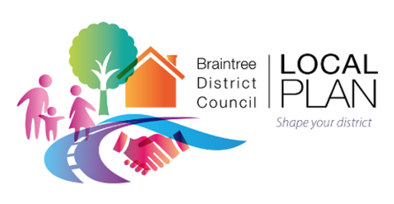 Abstract graphic containing a house, tree, road, handshake and people. With the text Braintree District Council, Local Plan, Shape your district