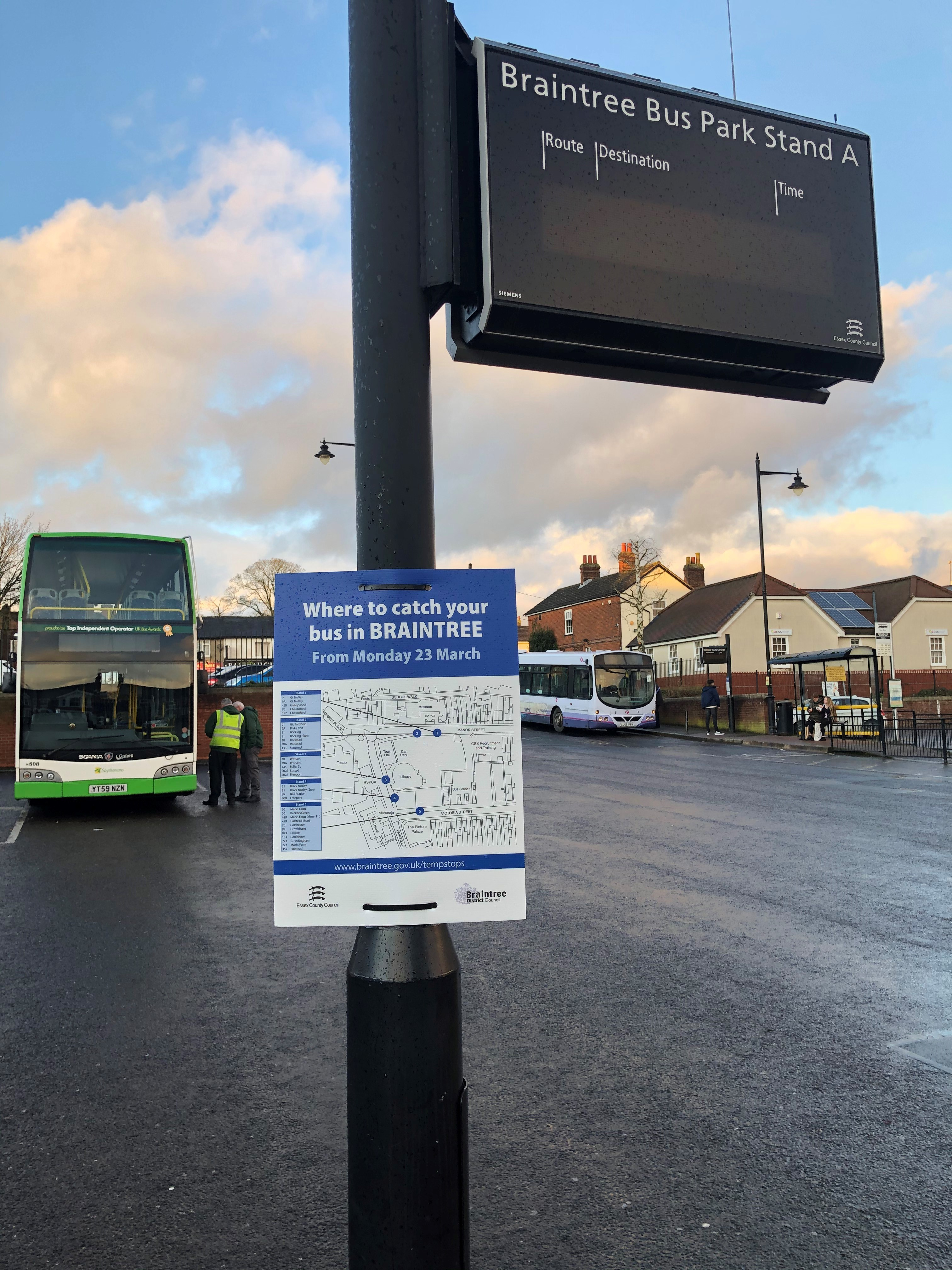 Braintree bus park closure and alternative temporary bus stops