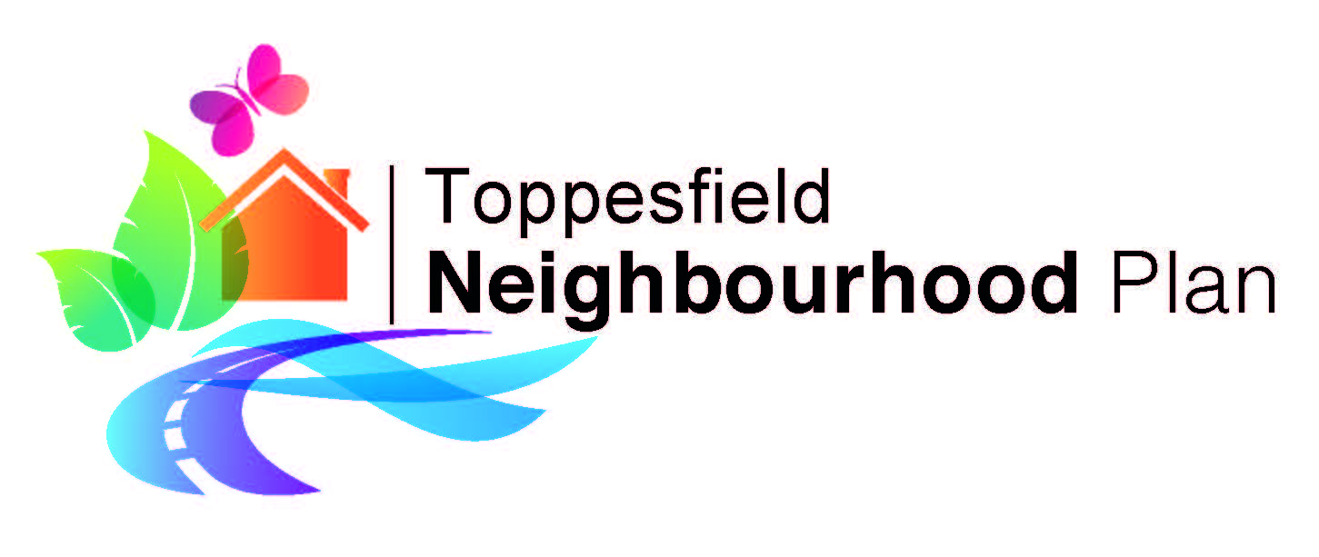 Text saying Toppesfield Neighbourhood plan with abstract graphic of a house, road and leaf