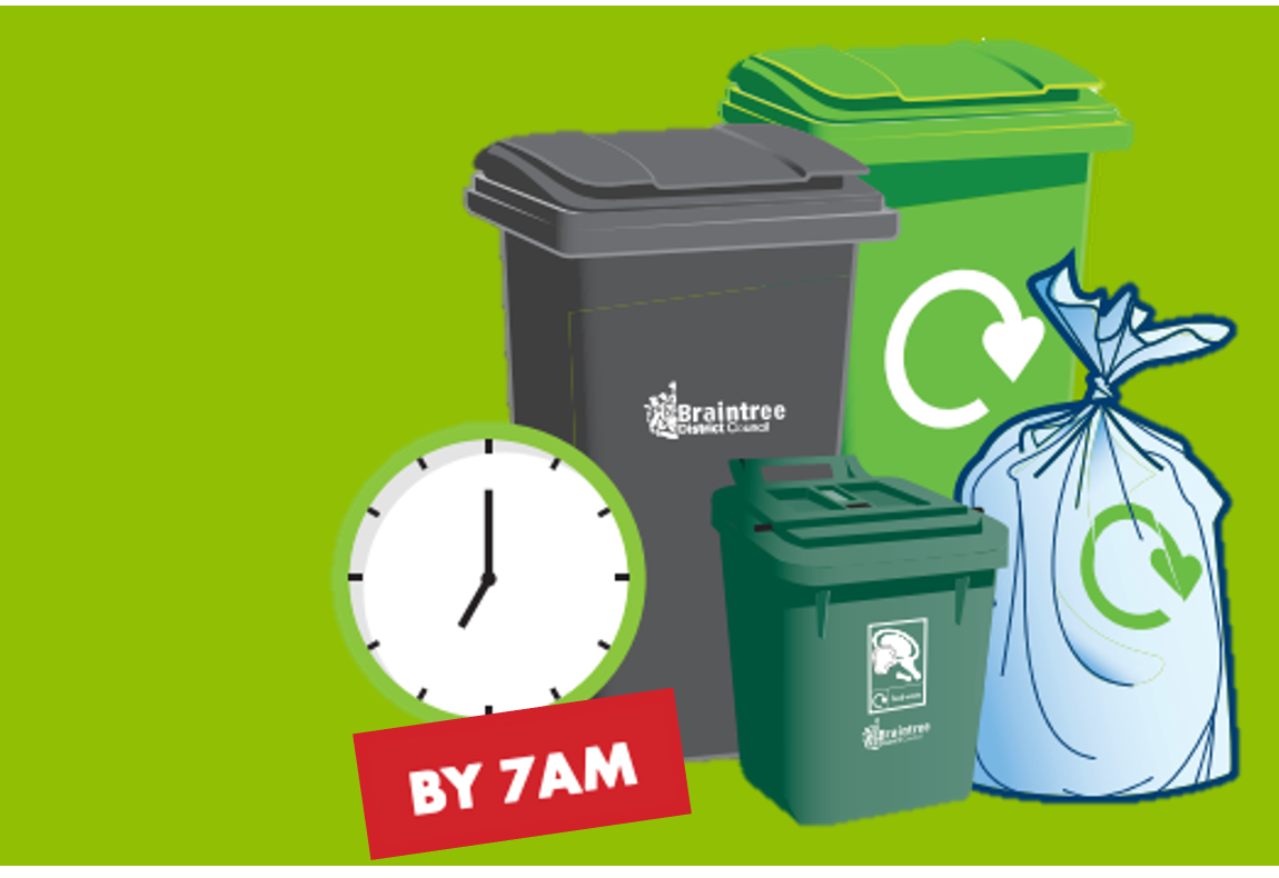 Graphic of the bins we collect a black wheelie bin, a clear recycling sack, a small dark green food bin and light green garden waste bin with a clock showing 7 o'clock for collection times