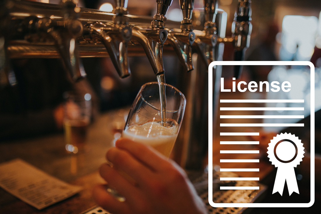 Photo of a pub with a graphic of a license certificate
