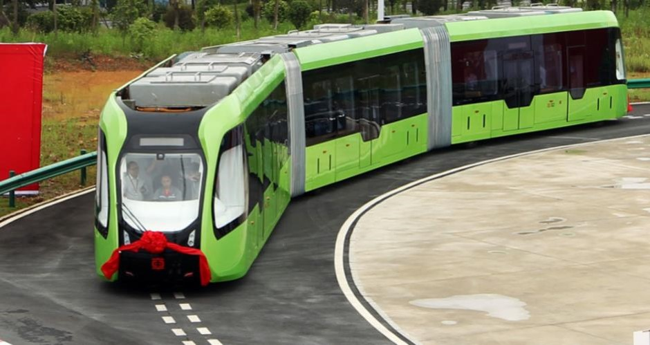 Trackless tram image as part of garden communities